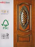 Beautiful Veneered Wooden Door with Fashionable Design, Nature Solid Wood Veneer Door
