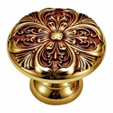 Brass Cabinet Pull Handle and Knob with Ivory Gold Finish