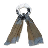 Lady Fashion Printed Polyester Voile Silk Scarf (YKY4046)
