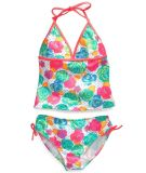 Little Girls 2-Piece Floral and Dots Halter Tankini Swimsuit