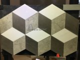 Grey Wooden White Marble 3D Interlocking Mosaic with Square Shape