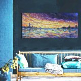 Colorful Sunrise Oil Painting with Frame