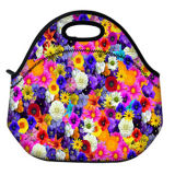 Colorful Flower Design Tote Cooler Neoprene Lunch Bag