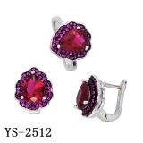 Fashion Jewelry Ruby Jewelry Set Rhodium Pave Ruby Set