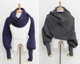 Fashion Korean Style Autumn Winter Unisex Knitted Scarf Cape Shawl with Sleeves (SK116)