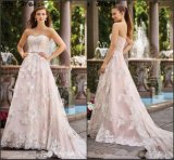 Sweetheart Bridal Gown Lace Pink Evening Wedding Dress H173906