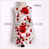 100% Cotton Elegant Casual Floral Pattern Girls Dress for 3-12 Years Old