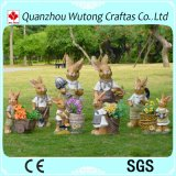 Handmade Garden Decoration Resin Rabbit Statue