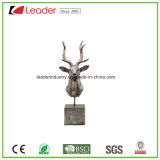 Polyresin Silver Deer Head Figurine with a Base for Home Decoration