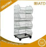4 Tier Floor Steel Wire Basket Shelf