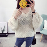 2017 New Spring and Autumn V Neck Think Mohair Sweater Pullover for Women