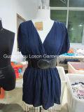 Rayon Gauze Women Short Dress with PU Belt
