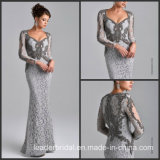 Long Sleeves Gray Lace Mother of The Bride Dress Beads Evening Dress Dresses Z7016