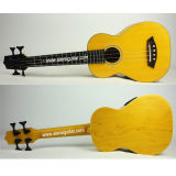 Aiersi Yellow Color All Solid Body Electric Acoustic Bass Ukulele