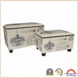 2-Piece Nesting Retangular Chandelier Script Patterned Fabric Storage Ottoman, Cream