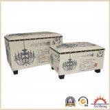 2-Piece Nesting Retangular Chandelier Script Patterned Fabric Storage Ottoman, Cream