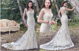 Trumpet Sweetheart Chapel Train Tulle Lace Wedding Dress with Beading