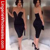 Sexy Women's Deep-V Neck Strapless Bodycon Clubwear Mini Dress