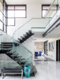 Double Steel Plates Glass Wood Stairs