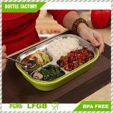 Stainless Steel Food Container Lunch Box Bento Box with BPA Free PP Plastic Shell 5 Compartment Blue
