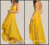 Yellow Chiffon Pageant Dresses A-Line Bridesmaid Dresses Party Prom Gowns D819