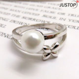 Custom Size Rhodinum Plated Anti-Tarnish Blossom Pearl Ring