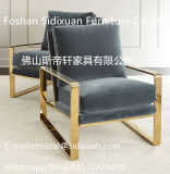 Modern Elegant Fabric Gold Stainless Steel Frame Living Room Dining Chair (CY100)