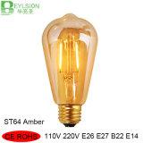 2W Amber St64 LED Edison Filament Bulb