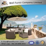 Well Furnir T-057 100% Polyester Cushion Elegant Stylish Rattan Corner Curved Sofa Suite