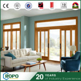 Double-Pane Storm Proof PVC Residential Wooden Color Sliding Door