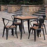 Patio Gaden Furiture Metal Teak Colour Plastic Wood Table Arm Chair (J833)