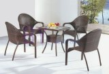 Simple Hand-Weaving Dining Room PE Rattan Furniture with Square Table