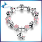New Arrival Lovely Dog Pink Heart Flower Charms Bracelets for Women