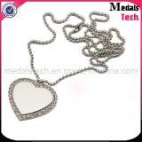 Die Cast Custom Metal Heart Shape Diamond Dog Tags Necklace