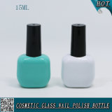 15ml Mint Green and White Colored Glass Nail Polish Bottle with Black Cap Brush