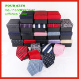 High Quality Custom Made Woven Neck Tie Cufflinks Box and Handkerchief Set