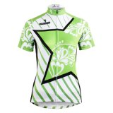 Star & Stripes Green Summer Short Sleeve Cycling Shirts Women/Lady′s Cycling Jerseys Breathable Row of Han Sport Outdoor