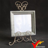 Distressed Retro Vintage Square Wooden Photo Frame with Metal Stand