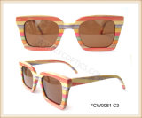 Brand Colorful Wooden Ski Sunglasses for Lady