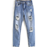 OEM Women Straight Ripped Loose Fashion Trousers Denim Jeans