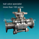 Stainless Steel Three Pieces Sanitary Ball Valve with ISO Pad