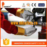 Ddsafety 2017 Cow Split Leather Work Gloves Yellow Cotton Drill Back Safety Gloves