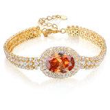 Wholesale Big Gemstone Crystal Jewelry 18K Gold Fashion Charm Bracelet