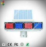 Red and Blue Solar Traffic Flash Light
