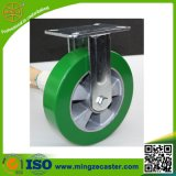 Green Elastic PU Wheels Heavy Duty Fixed Caster