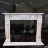 Natural White and Yellow Marble Fireplace Mantel Surround with Good Quality