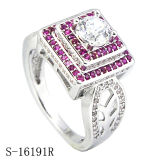 Sterling Silver Jewellery Micropave Ruby Rings Diamond Rings