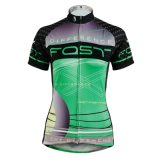 Green & Black Simple Patterned Short Sleeve Women′s Cycling Jerseys Breathable Quick Dry Sport Outdoor