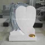 Pearl White Granite Antique Angel Sculpture Tombstone