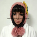 2 in 1 100% Iceland Wool, Hand Made Fashion Crocheted 2 in 1 Hats and Headband with Flower Patch